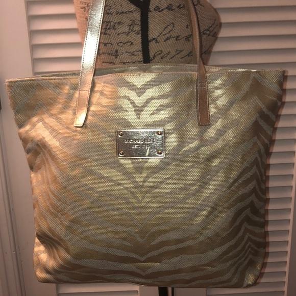 Michael Kors Gold Zebra Striped Tote Bag